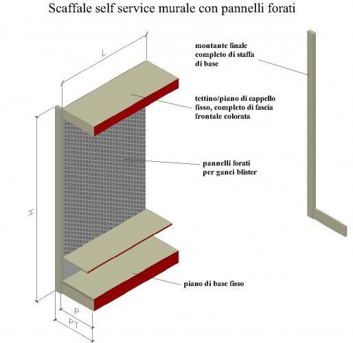 Scaffale self service forato per ganci blister for 2 box auto con piani d ufficio