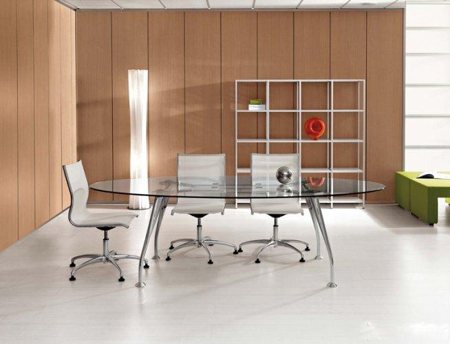 Tavolo Riunione Piano Vetro Executive : Tavolo riunioni ovale mod segno con piano in vetro dr
