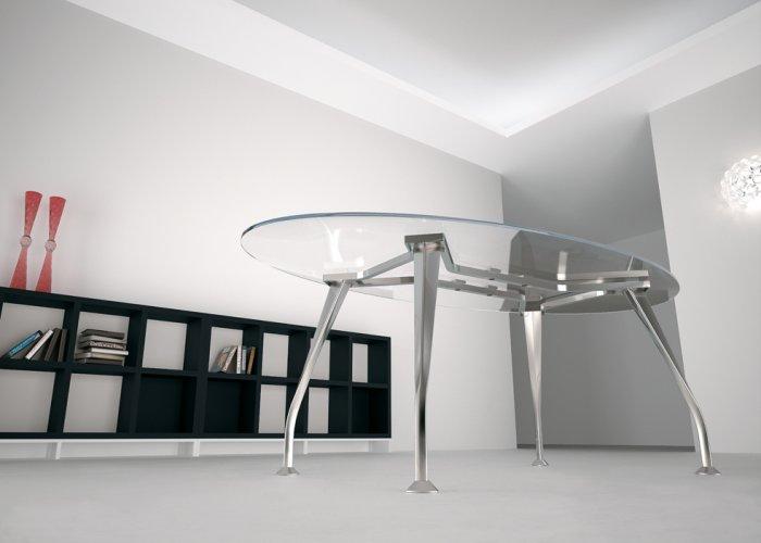 tavolo riunioni ovale mod segno con piano in vetro dr