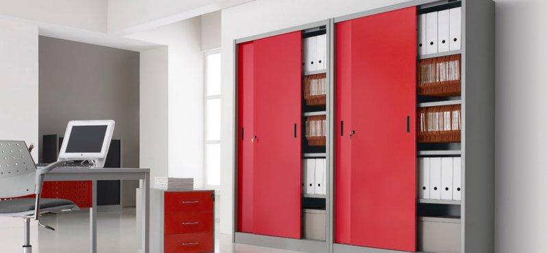 Armadi Metallici Per Ufficio Ante Scorrevoli.Armadi D Archivio Con Ante Scorrevoli Colorate Armadi D